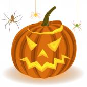 Halloween pumpkin and spiders on the web — Stock Vector