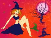 Halloween girl in sinister moonlight night — Stock Vector