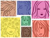 Set of seven colored women portrait — Stock Vector