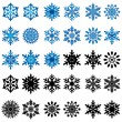 Постер, плакат: Set of thirty blue and black snowflakes