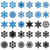 Set of thirty blue and black snowflakes — Stock Vector