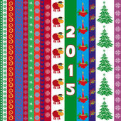 New Year 2015 greeting card with vertical strips — Stock Vector
