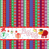 New Year 2015 striped greeting card — Stock Vector