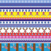 Christmas striped seamless pattern with reindeer — Stock Vector