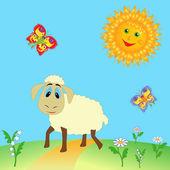 Овцы на лугу — Cтоковый вектор