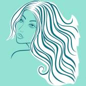 Beautiful blond women sketching head  — Stock Vector