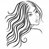 Beautiful women sketching head — Stock Vector