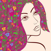 Women head with floral hair — Stock Vector