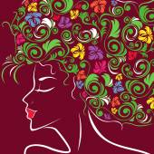 Women head profile with floral hair — Stock Vector