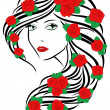 Fashionable women with roses on hair — Stock Vector #62289221