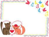 Romantik kedi ve yavru kedi Sevgililer günü tebrik kartı — Stok Vektör