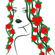 Girl with roses on hair — Stock Vector #63983735
