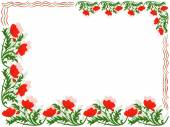 Greeting card with red poppies and colour lines — Stock Vector