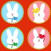 Four funny rabbits in round frameworks — Vetorial Stock