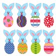 Eight little Bunnies with Easter eggs — Stock Vector #64334899