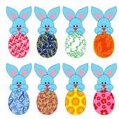 Eight small Bunnies with Easter eggs — Stock Vector