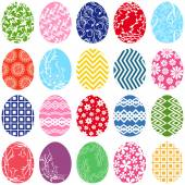 Twenty ornamental Easter eggs — Stock Vector