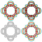 Four circular forms same as a wicker pattern — Stock Vector