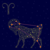 Zodiac sign Aries over starry sky — Stock Vector