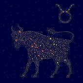 Zodiac sign Taurus over starry sky — Stock Vector