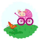Baby girl from pram watching a butterfly — Stock Vector