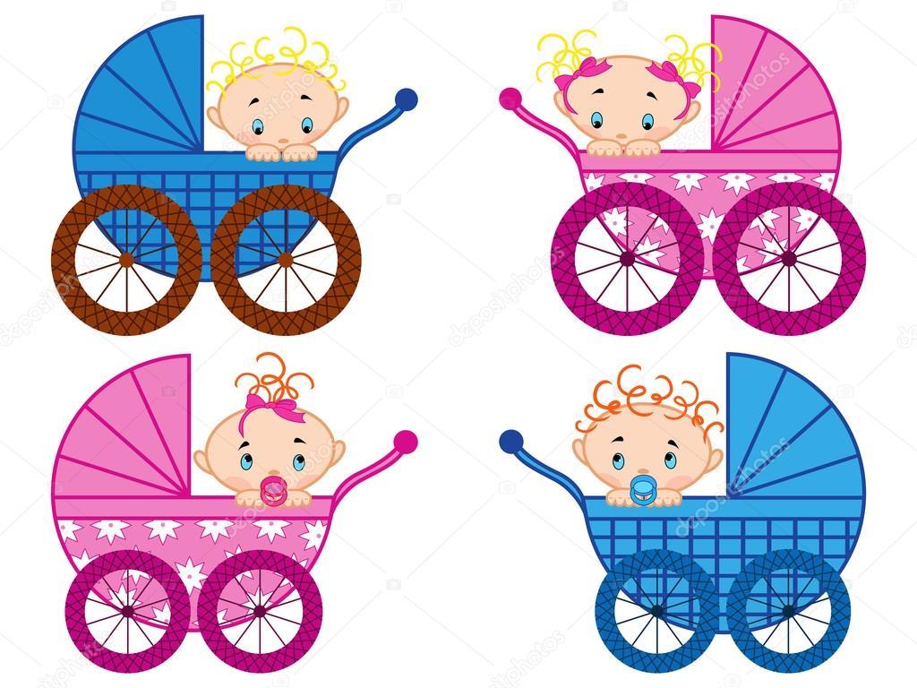 Quatre poussettes avec b b gar ons et filles b b image - Poussette dessin ...