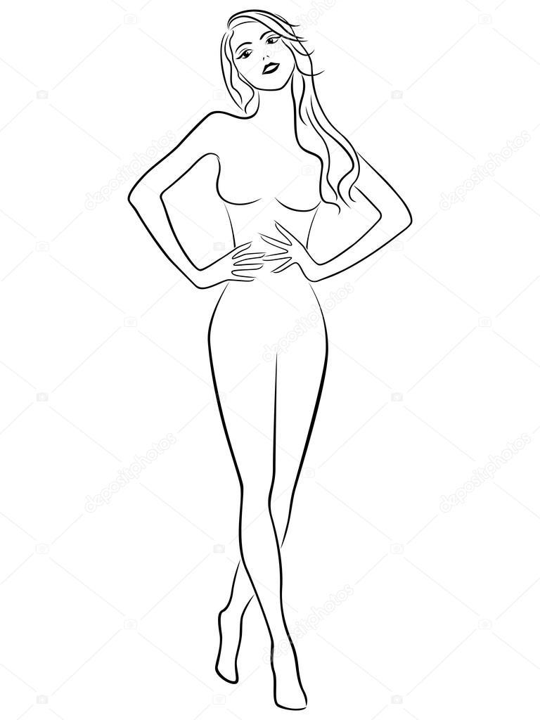 Girl figure outline