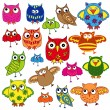 Set of eighty colourful owls — Stock Vector #67267571