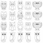 Twenty funny owls black outlines — Stock Vector