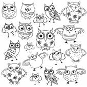 Eighty funny owls black outlines — Stock Vector