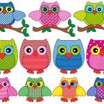 Set of eleven ornamental cartoon owls — Stock Vector #67912067