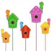 Amusing birds singing in their homes — Stok Vektör