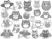 Amusing and funny owls, black outlines — Stock Vector