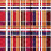 Tartan seamless texture mainly in red and blue hues  — Stock vektor