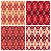 Four rhombic seamless patterns in red hues — Stock Vector
