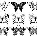 Set of nine ornamental butterflies — Stock Vector #72081439