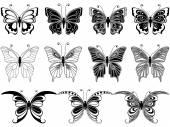 Set of eleven ornamental butterflies — Stock Vector