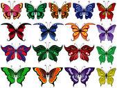 Set of seventeen colorful butterflies — Stock Vector