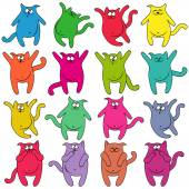 Sixteen thick funny cats — Stock Vector