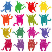 Sixteen thick funny cat stencils — Stock Vector