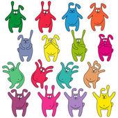 Sixteen thick funny rabbits — Stock Vector
