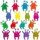 Sixteen thick funny rabbit stencils — Stock Vector