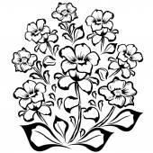 Flower group black outline — Stock Vector