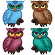 Set of four ornamental owls — Stock Vector #77968244