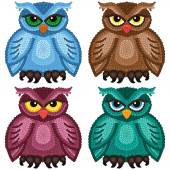 Set of four funny owls — Stock Vector