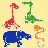 Giraffe, crocodile, hippo and boa — Stock Vector