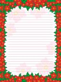 Sheet of notepad with floral frame in red hues — Stock Vector