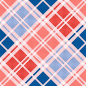 Diagonal seamless pattern in red an blue trendy hues — Stock Vector
