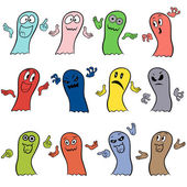 Set of twelve colorful ghosts — Stock Vector
