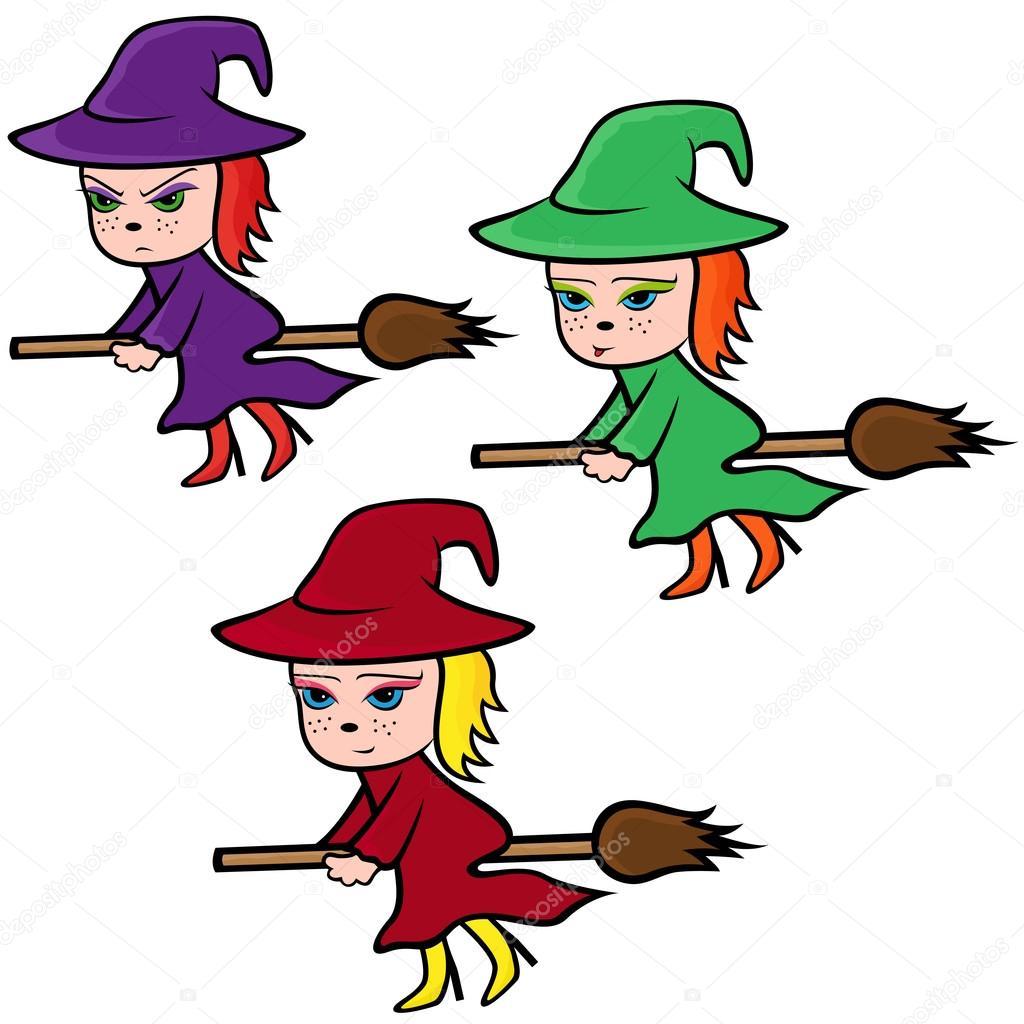 Halloween set de tres Brujas de colores volando en una escoba con varios personajes de rostro aislados sobre fondo blanco, ilustración vectorial de dibujos